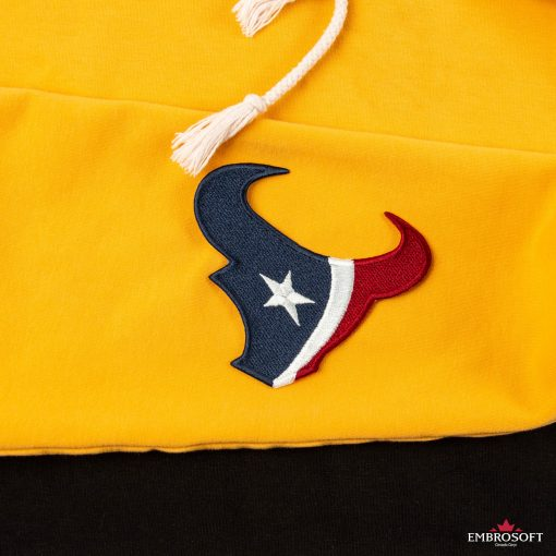 Houston Texans NFL team emblem embroidered patch yellow sports hoody sleeve