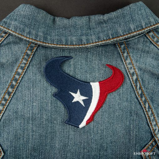 Houston Texans NFL team embroidered back patches jeans jacket