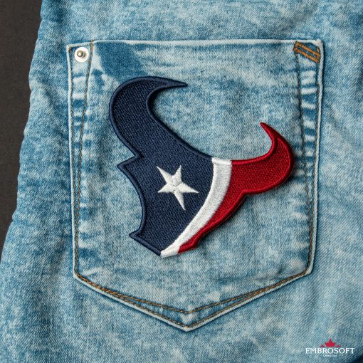Houston Texans NFL team embroidered patch on a jeans back pocket
