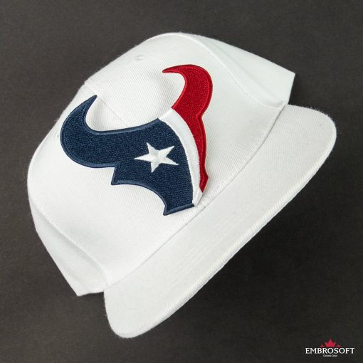 Houston Texans NFL team embroidered patch on a white cap