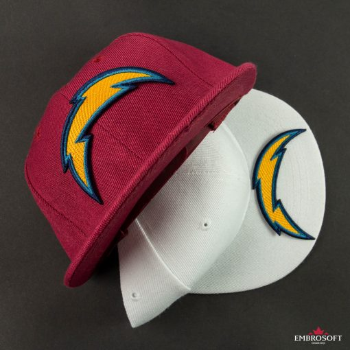 Los Angeles Chargers team logo embroidered patch on a red and white cap
