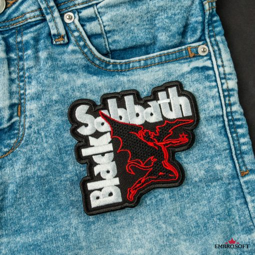 Rock Embroidery Black Sabbath group jeans