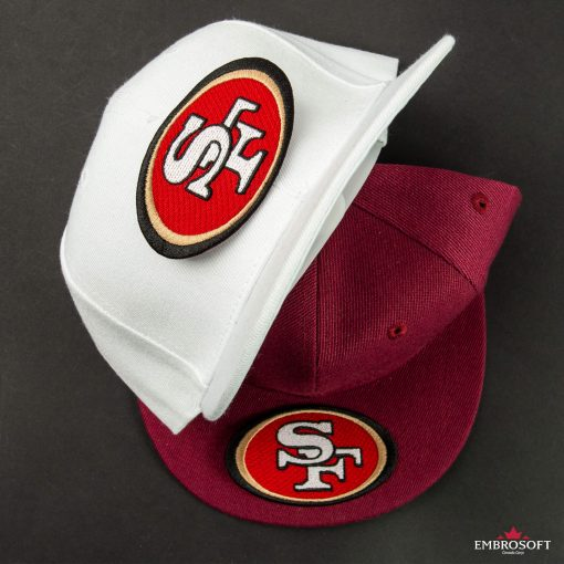 San Francisco ers NFL team logo patch on a red and white caps