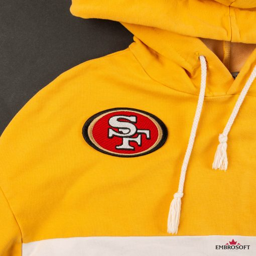 San Francisco ers emblem sport sleeve patch on a yellow hoody