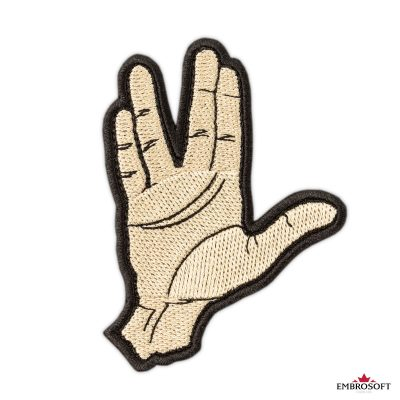 Star Trek Spock Ok hand embroidered patch frontal