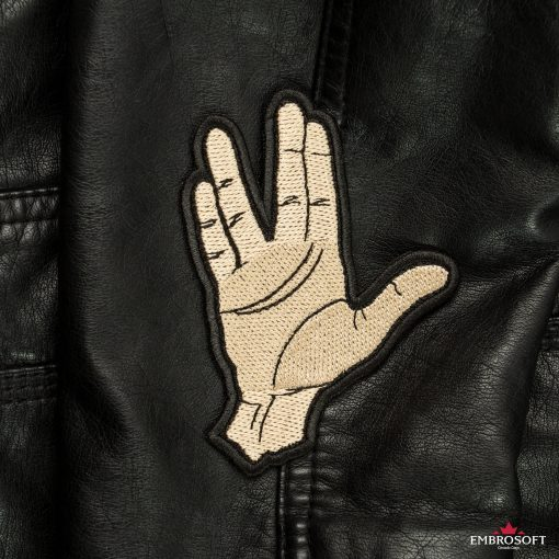Star Trek Spock Ok hand embroidered patch leather jacket sleeve