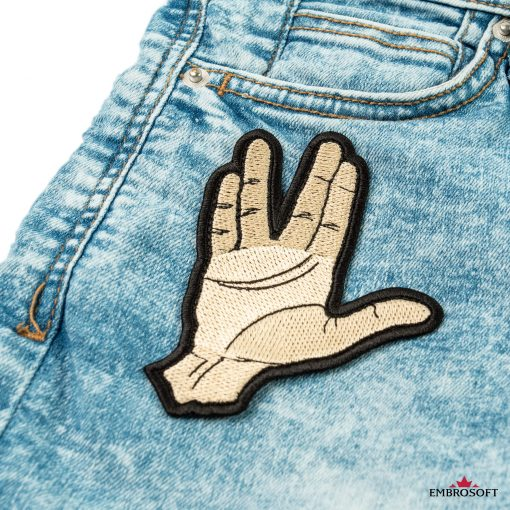 Star Trek Spock Ok hand embroidered patch on a jeans front pocket