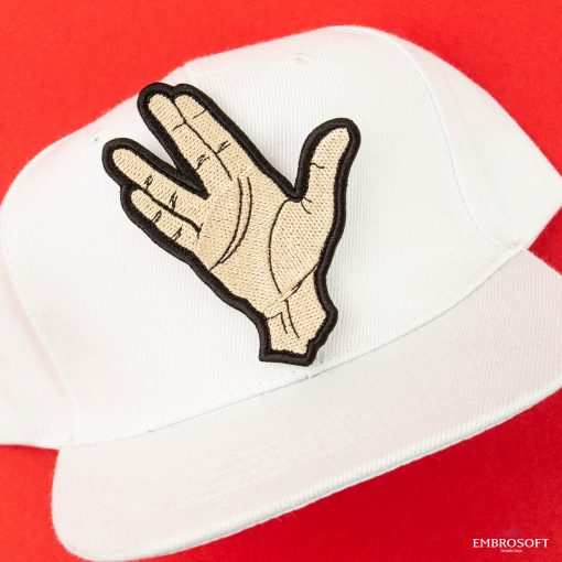 Star Trek Spock Ok hand embroidered patch on a white cap
