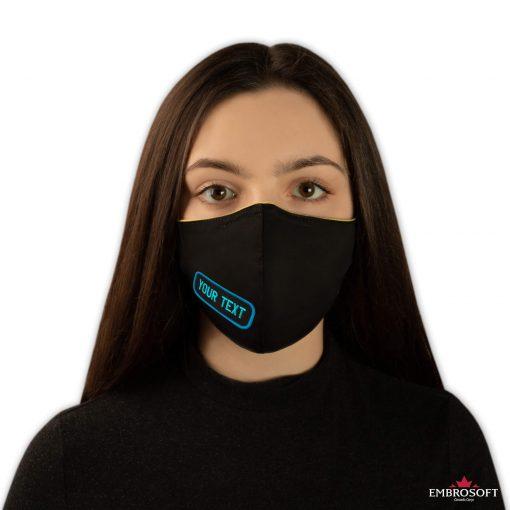 Black face mask custom embroidered logo model girl