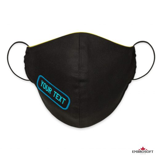 Black mask custom embroidery frontal