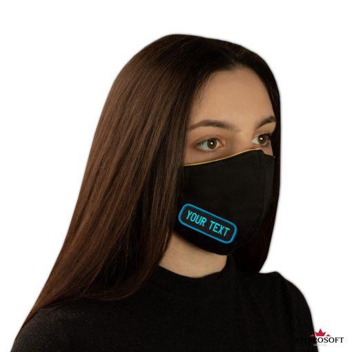 Black mask custom patches model girl right