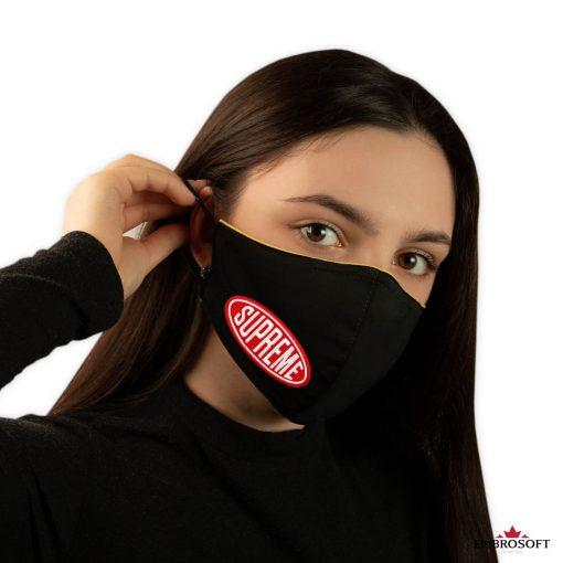 Black tilted mask supreme patch model girl