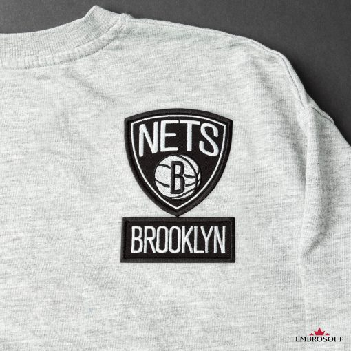 Brooklyn Nets NBA team emblem patch for fans clothes gray jacket