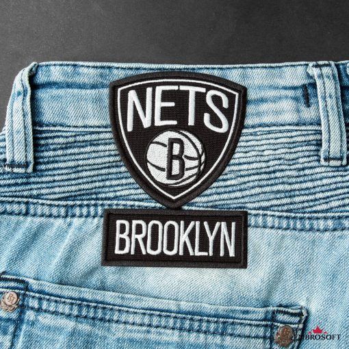 Brooklyn Nets NBA team embroidered emblem back jeans