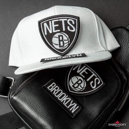 Brooklyn Nets NBA team logo patches bag and cap