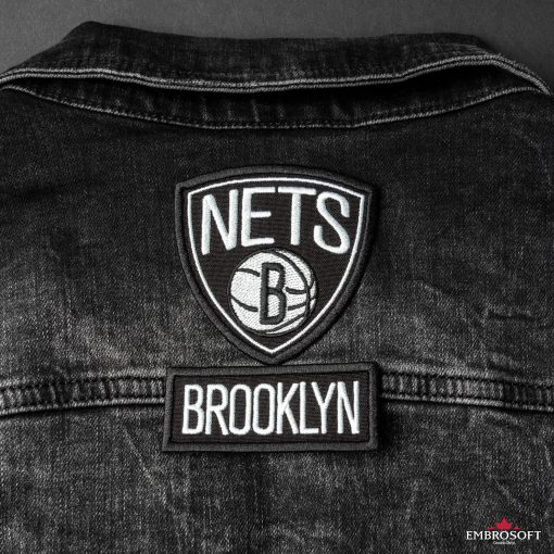 Brooklyn Nets basketball team embroidery back jeans jacket