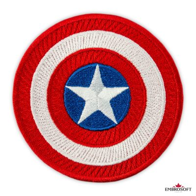 Captain America shield premium embroidered patches frontal