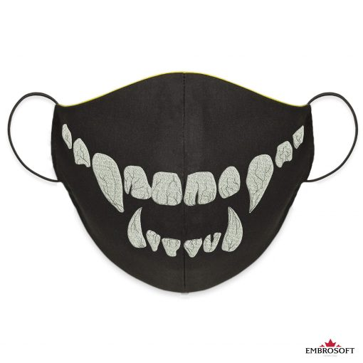 Fully embroidered Black face mask teeth frontal