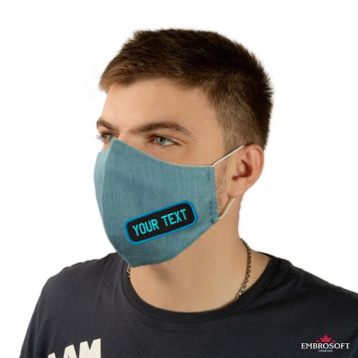 Jeans embroidered mask custom unisex