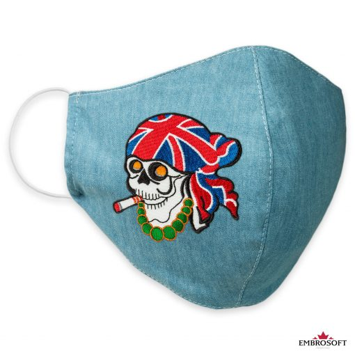 Jeans face mask with skull patches