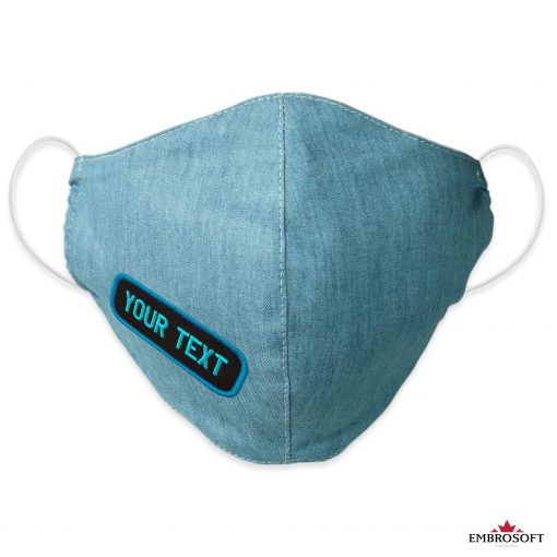 Jeans mask with custom embroidery frontal