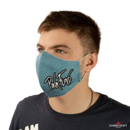 Jeans mouth mask embroidery pink floyd model
