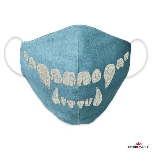 Jeans mouth mask with embroidereed teeth frontal
