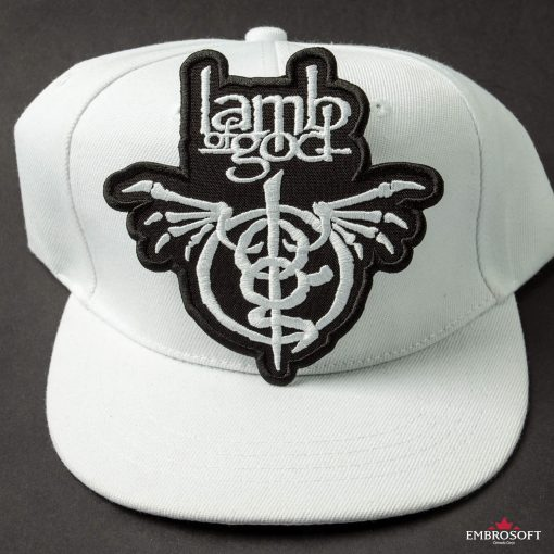 Lamb of God Wrath logo patches on a cap