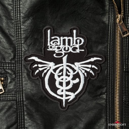 Lamb of God Wrath patches for rock fans front Leather Jacket