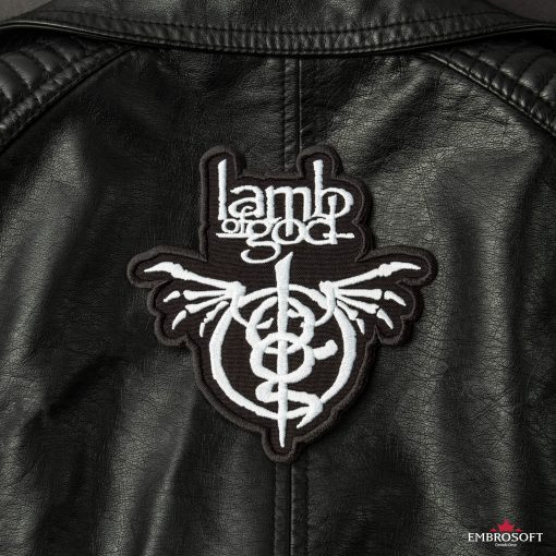 Lamb of God embroidered back atch Leather Jacket