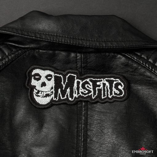 Misfits horizontal embroidered emblem embroidered logo back Leather Jacket