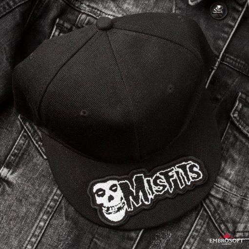 Misfits horizontal jeans jacket patch and black cap