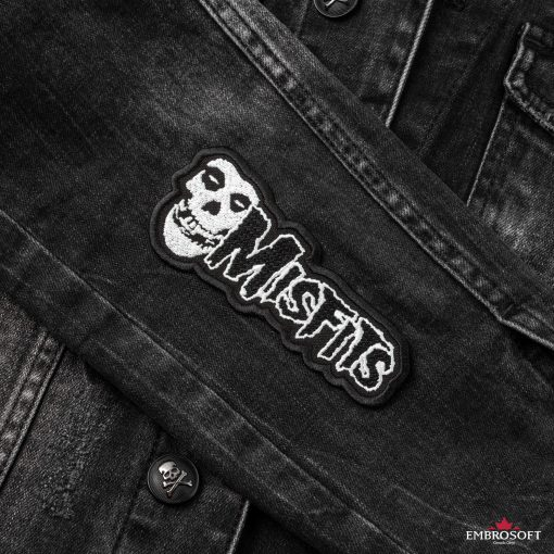 Misfits horizontal jeans jacket sleeveembroidered patches