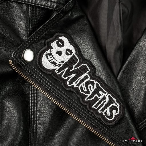Misfits horizontal logo embroidery Leather Jacket