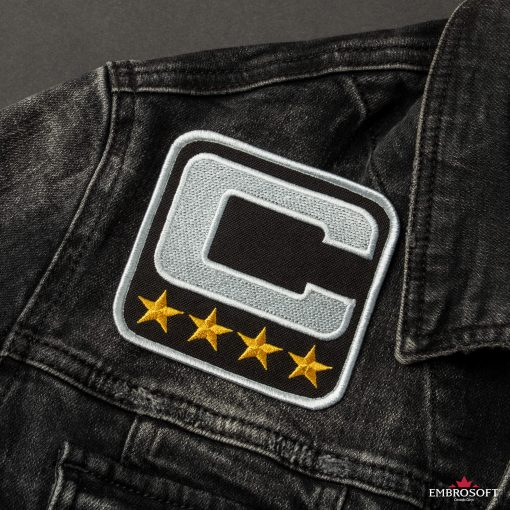 NFL Team Captain Logo embroidered big patch jeans jacket