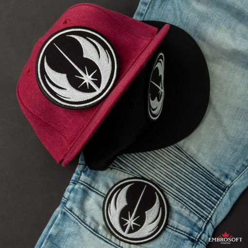 Star Wars Jedi Order Emblem Patch jeans white and red caps