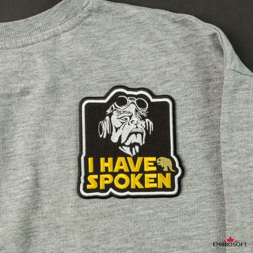 Star Wars The Mandalorian I have spoken cool embroidered patch gray jacket