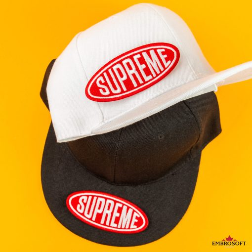 Supreme embroidered patch on black and white caps