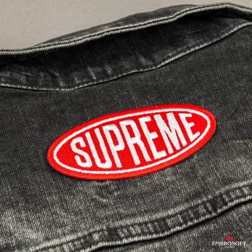 Supreme pocket back jean jacket red logo patch