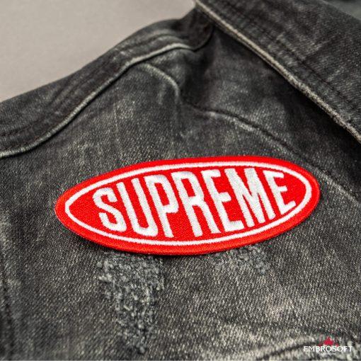 Supreme red emblem patches pocket front jean jacket