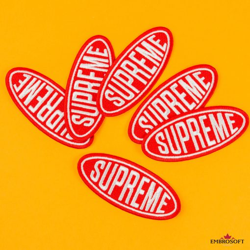 Supreme red logo patches with yellow background