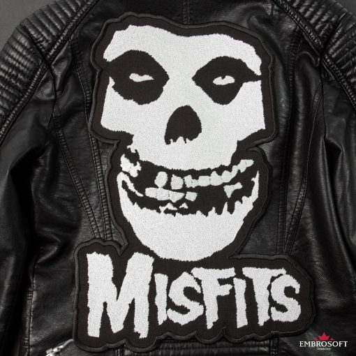 The Misfits punk rock embroidery back leather jacket