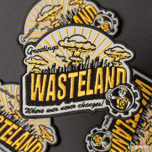 Wasteland Game embroidered patch collage