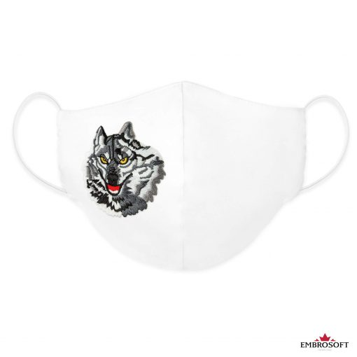 White cool custom mask wolf patch frontal
