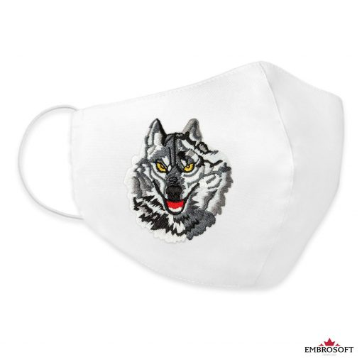 White embroidered mouth mask wolf patch
