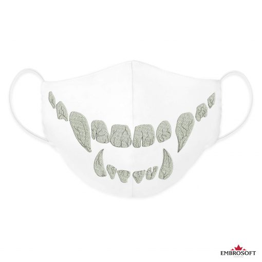 White face mask fully embroidered with teeth frontal