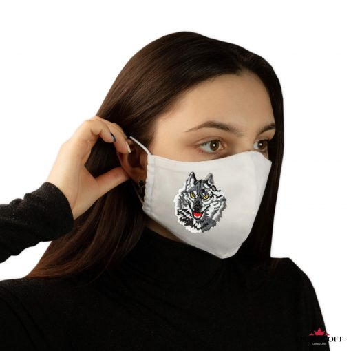 White mask with simple wolf patch embroidery girl