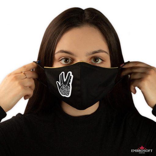 black mask in hands Star Trek Spock Ok patch model girl