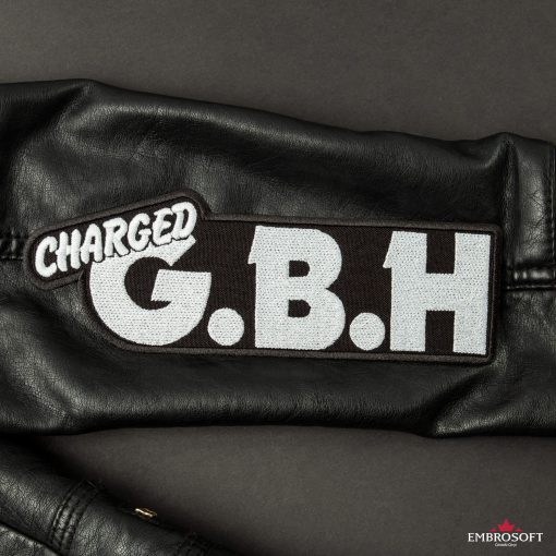 G.B.H. Charged Logo sleeve patch Leather Jacket