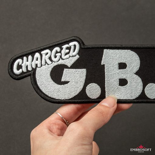 GBH Charged band Logo embroidered for jackets black background